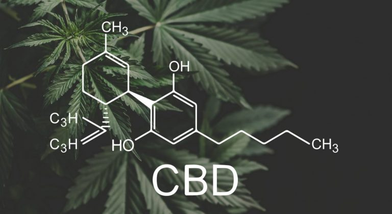 CBD Science Chemical Equation with CBD plant
